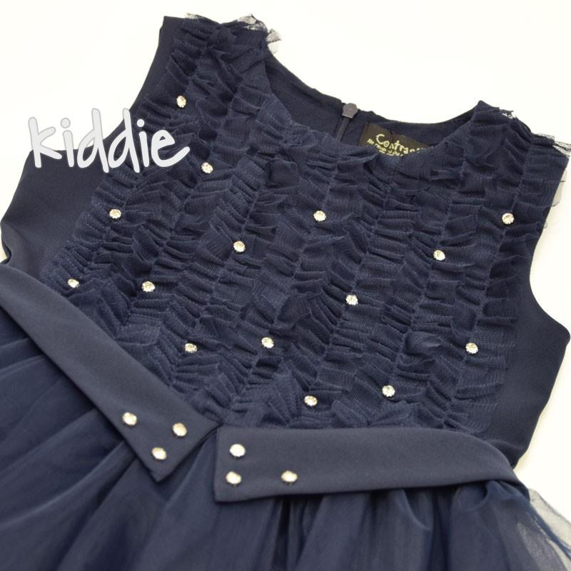 Детска рокля Contrast с тюл и камъни