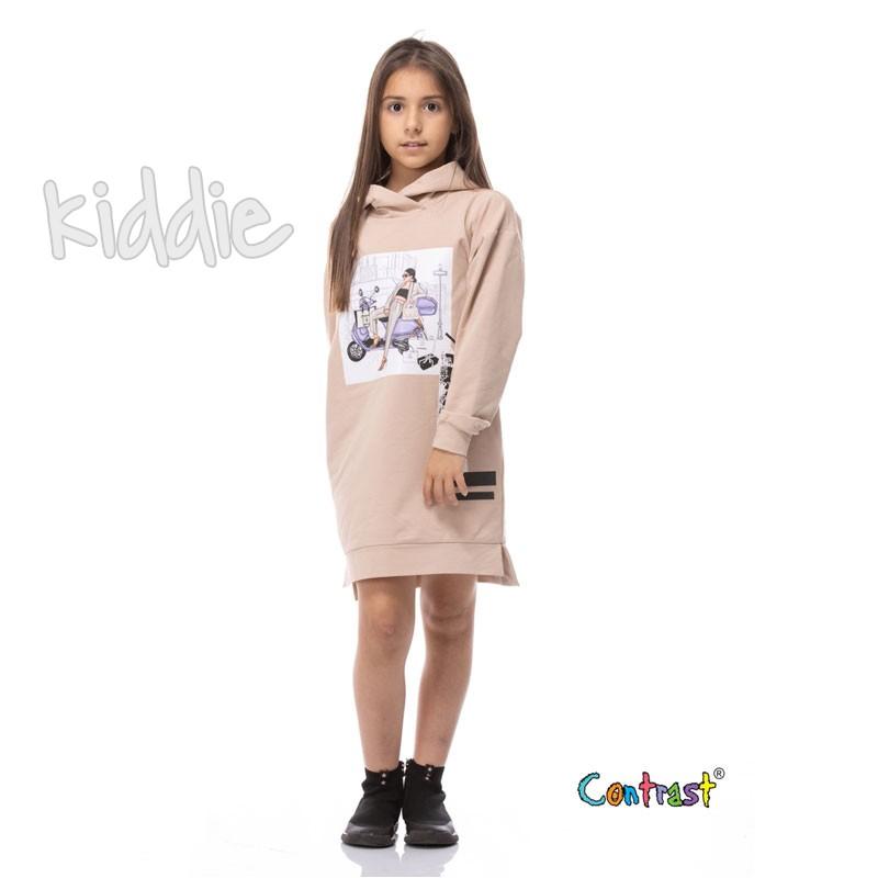Детска рокля с дълъг ръкав и качулка Contrast