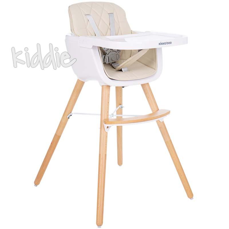 Дървен стол за хранене Woody Beige Kikkaboo