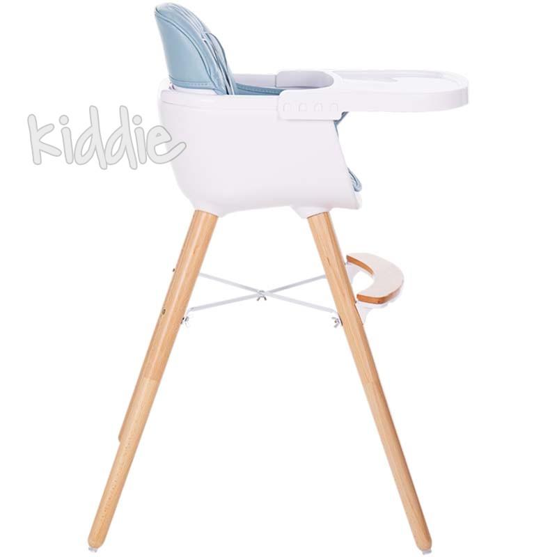 Дървен стол за хранене Woody Blue Kikkaboo