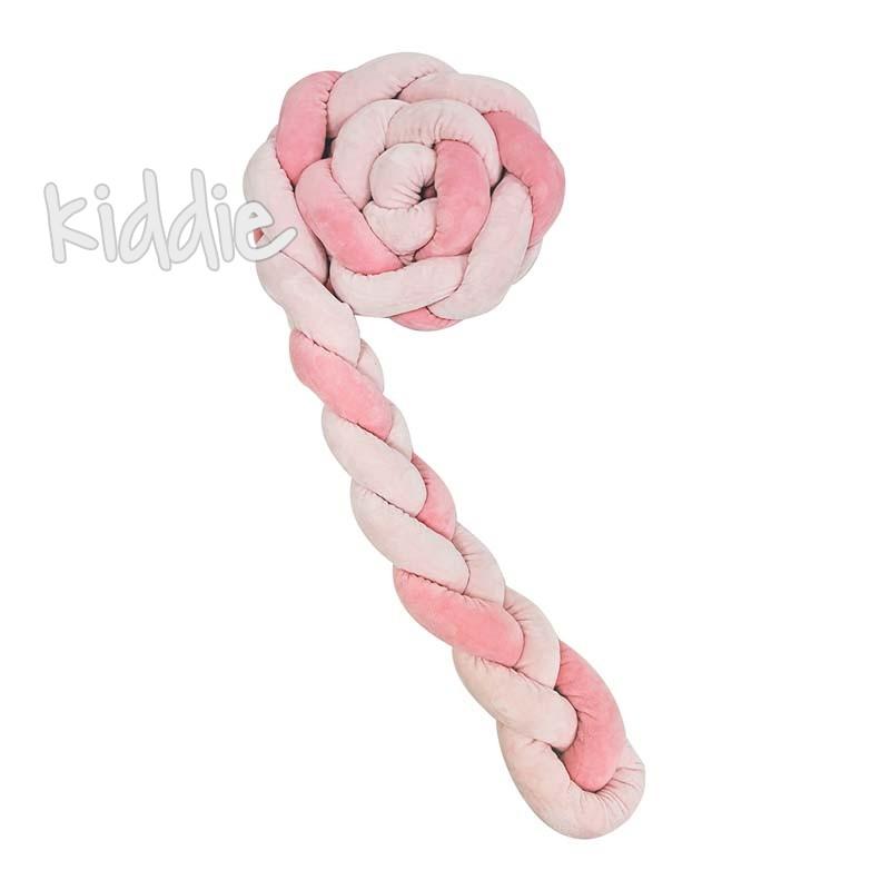 Kikka boo Плетен плюшен обиколник 180 см 3 плитки 12 см Pink