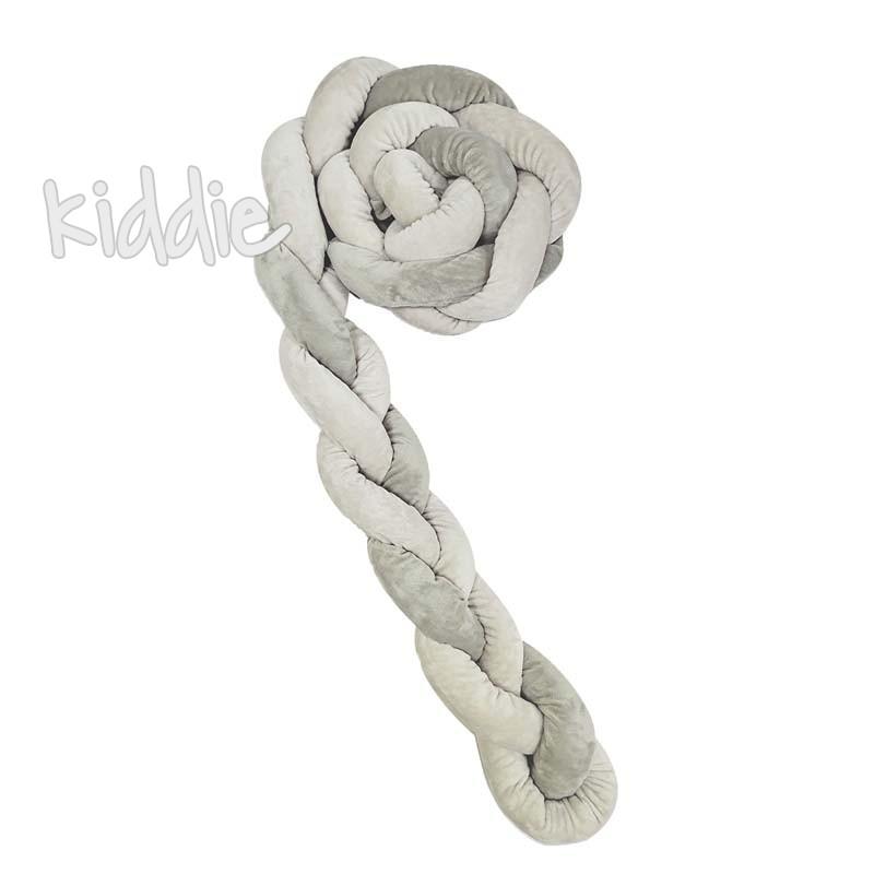 Kikka boo Плетен плюшен обиколник 180 см 3 плитки 12 см Grey