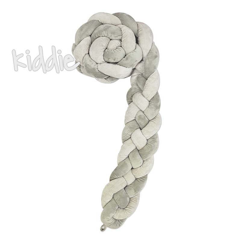 Kikka boo Плетен плюшен обиколник 180 см 4 плитки 15 см Grey
