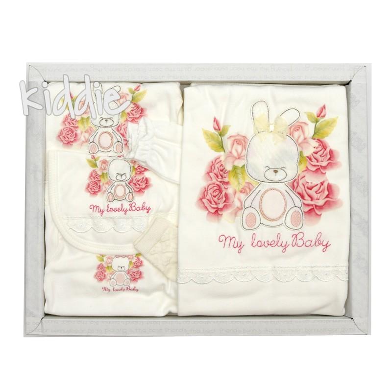 Бебешки комплект за момиче Bebitof зайче и рози