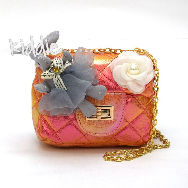 Детска чанта роза и зайче