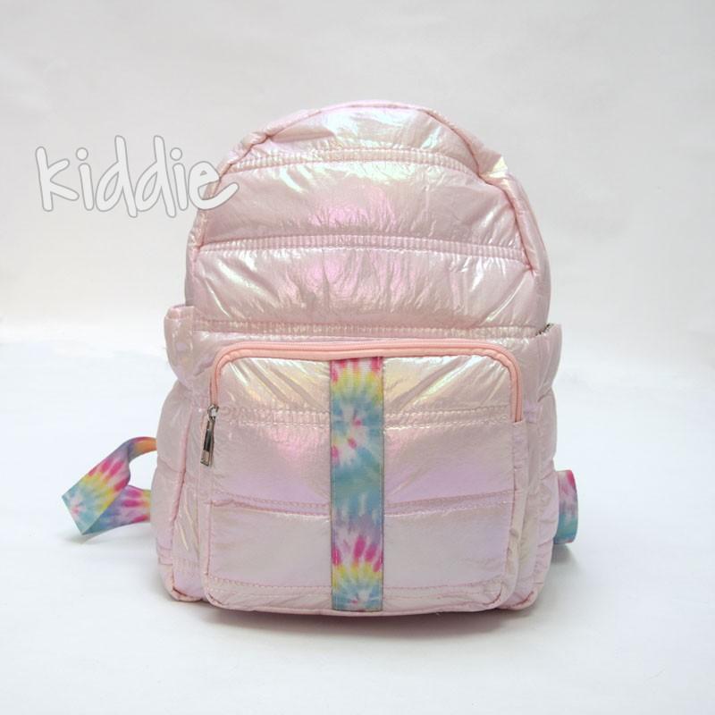 Детска раница за момиче с цветен кант на джоба