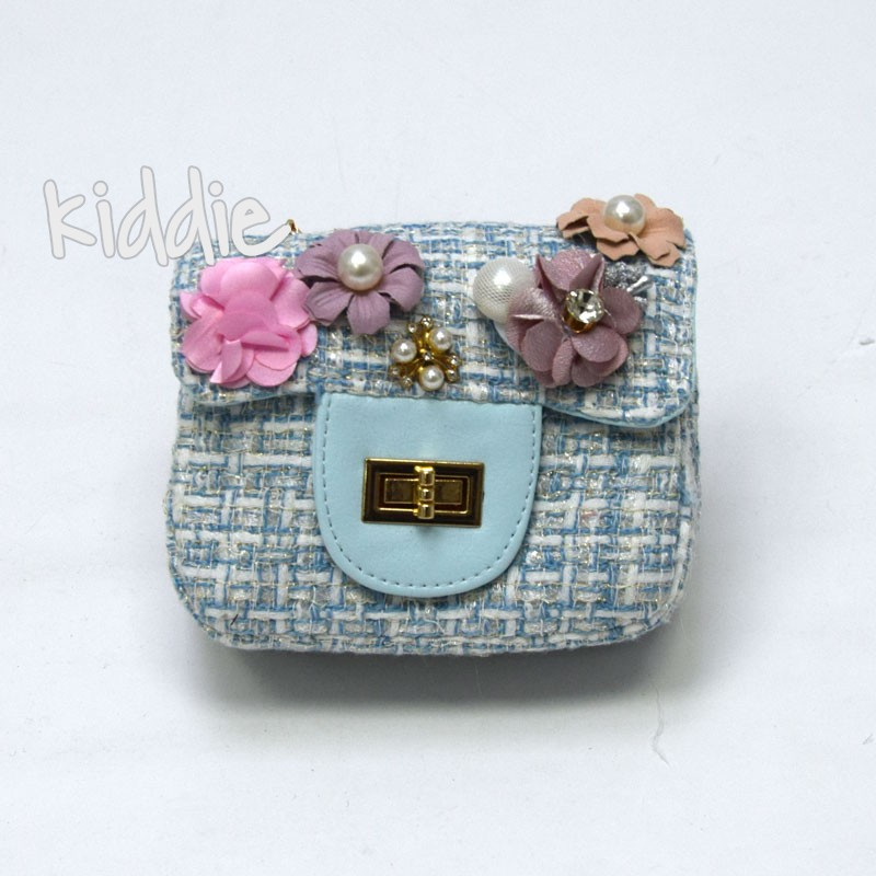 Детска чанта с цветя и перли