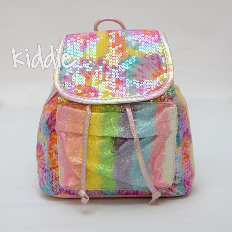 Детска цветна раница с пайети и капак за момиче