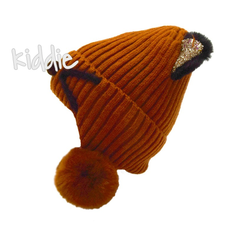 Детска шапка с уши и топъл хастар