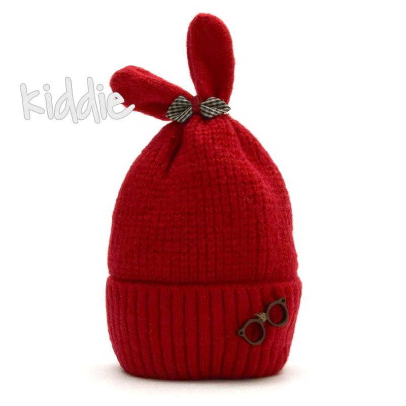 Бебешка плетена шапка с панделка за момиче
