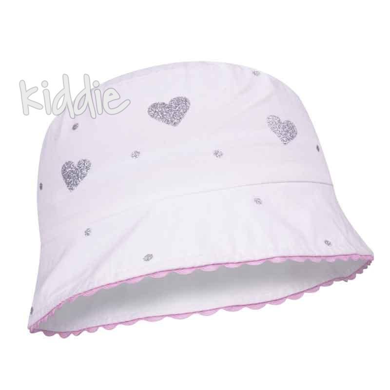 Бебешка шапка EAC с брокатени сърца за момиче