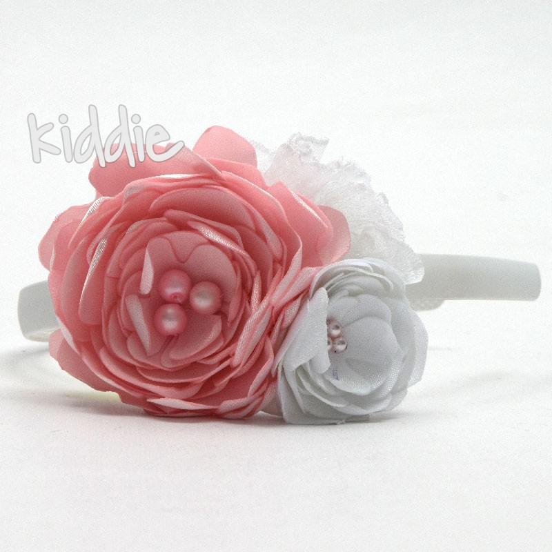 Детска диадема ръчна изработка с цветя и перли