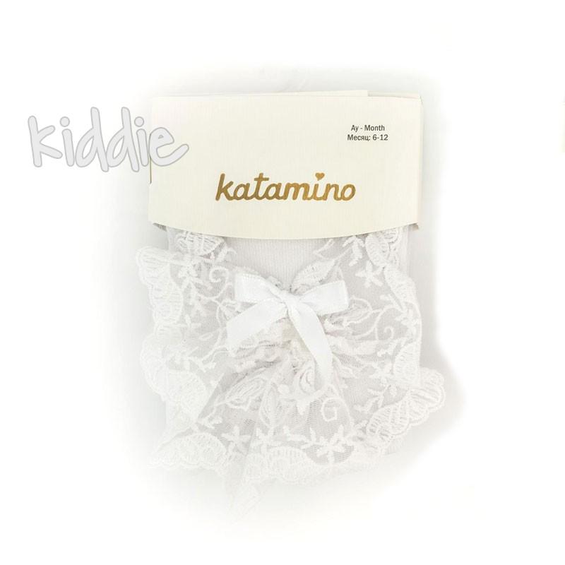 Бебешки чорапогащи Katamino за момиче с дантела