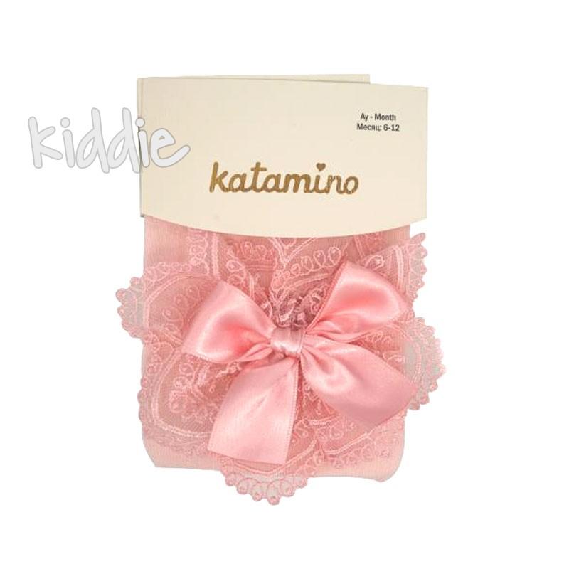 Бебешки памучни чорапогащи Katamino за момиче