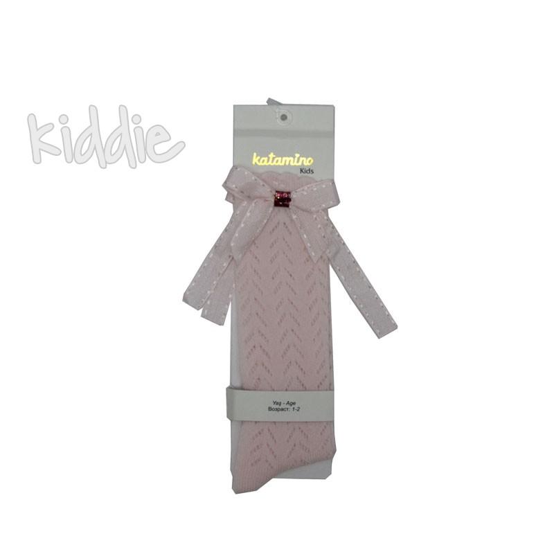 Детски 3/4 чорапи Katamino панделка с цветна брокатена лента