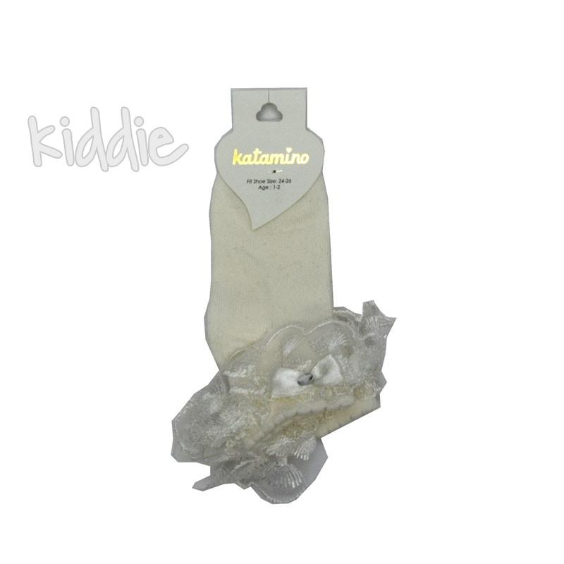 Детски къси чорапи Katamino дантела с панделка и камъче