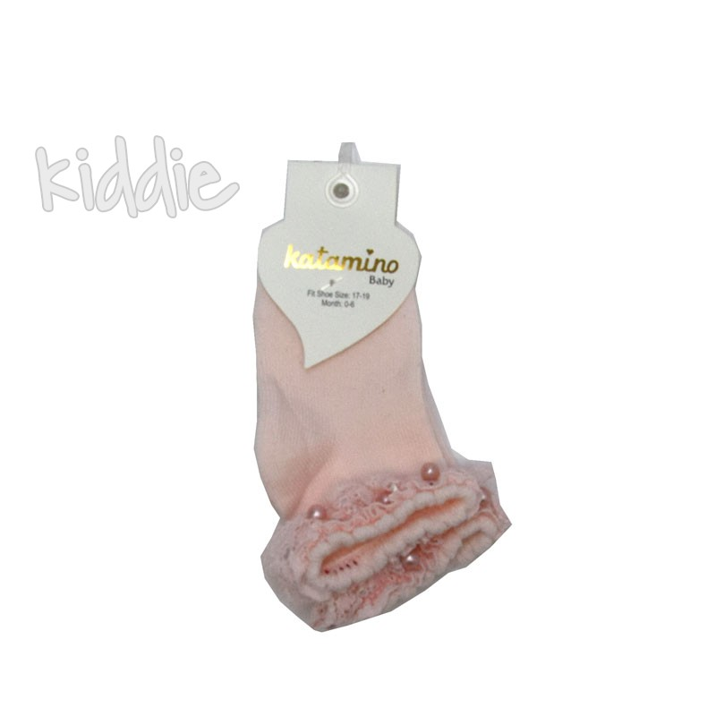 Детски къси чорапи Katamino с къдрички от дантела с перла