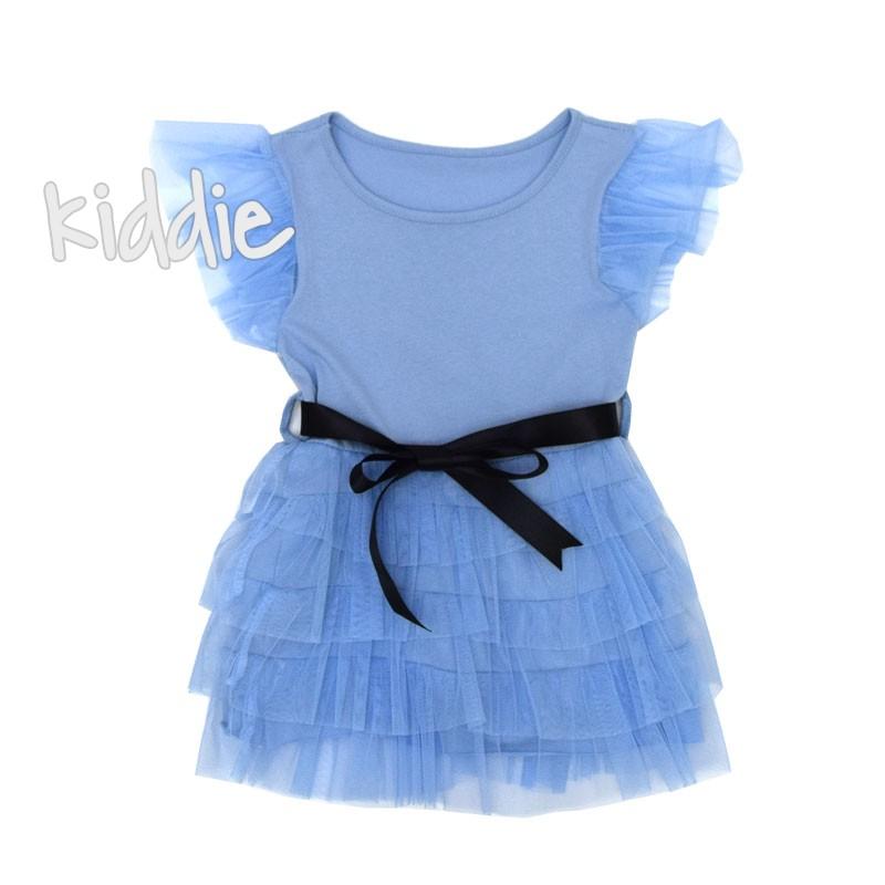 Детска рокля с тюлени волани и колан